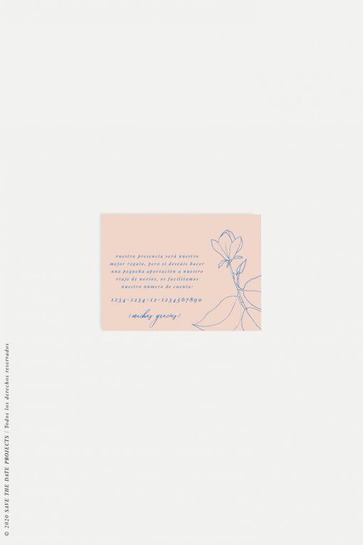 tarjeta agradecimiento sencilla con flor MAGONOLIA nude