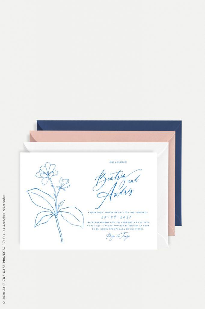 tarjeton de boda sencilla con flor MAGONOLIA azul