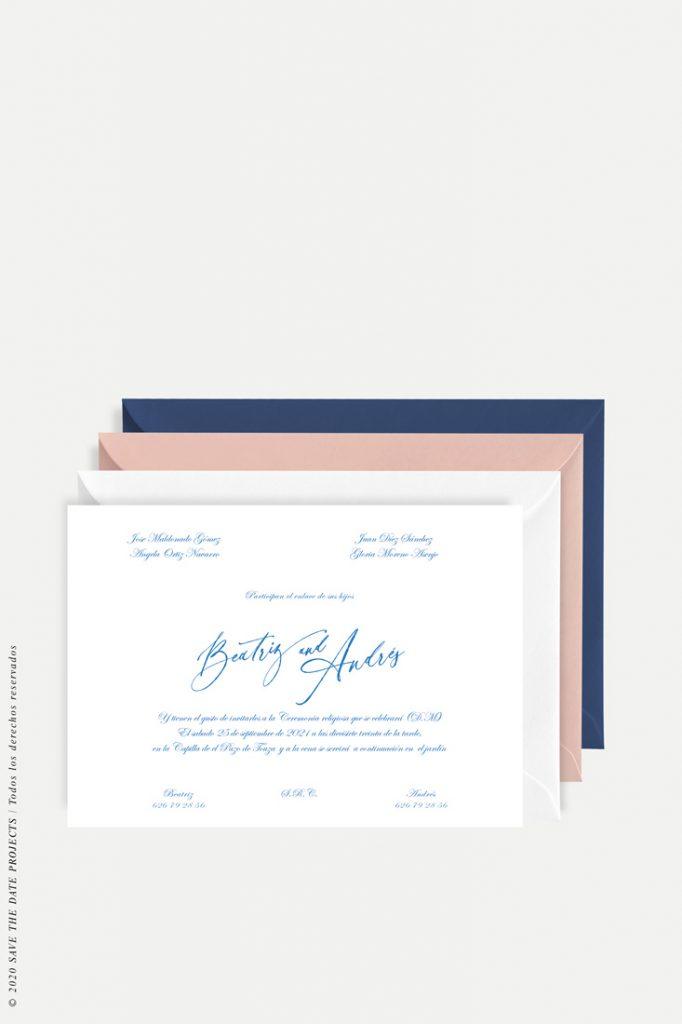 tarjeton de boda sencilla con flor caligrafia inglesa