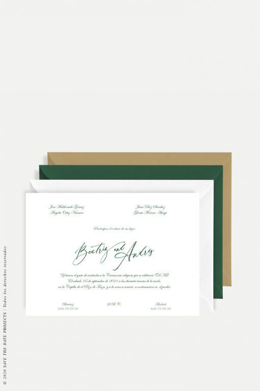 invitacion clasica magnolia verde