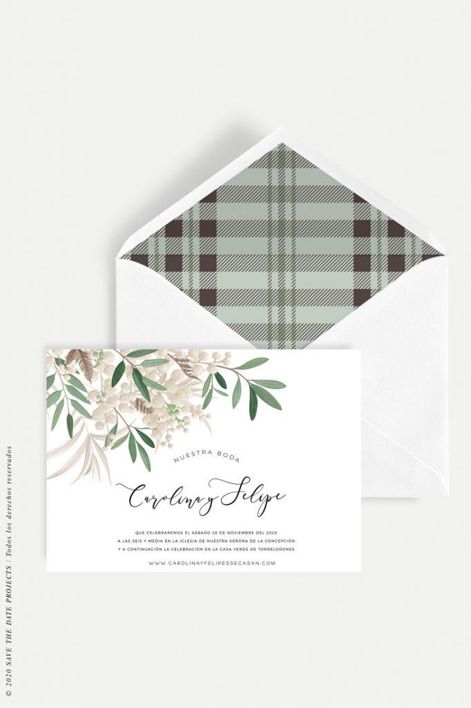 invitacion de boda ramillete tartan horizontal