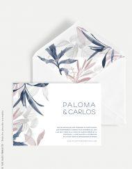 invitacion de boda leaves invernal horizontal