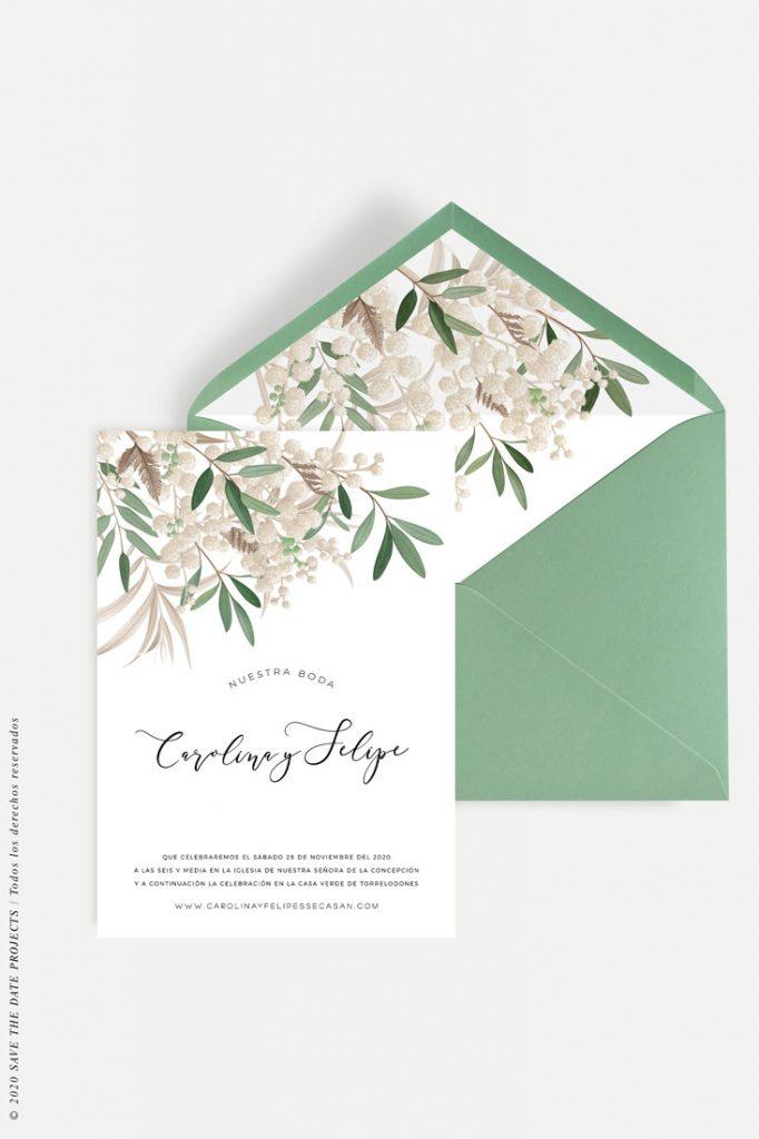 invitacion boda invierno ramillete