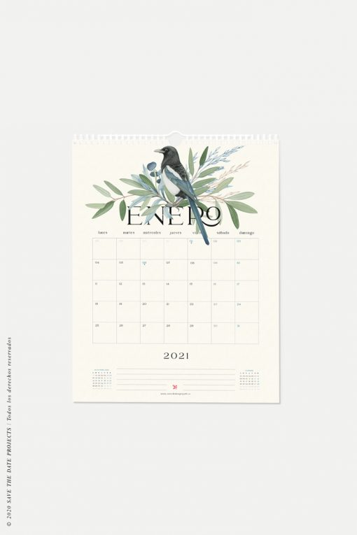 Calendario mes enero 2021