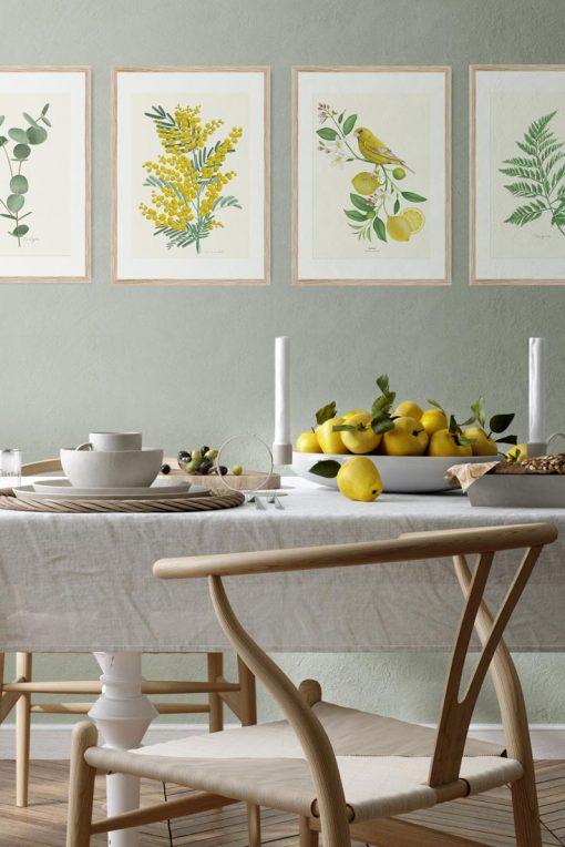 composicion decoracion cuadros casa amarillo verderon pajaro