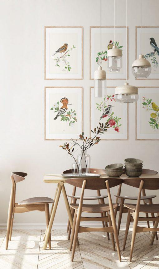 cuadros de madera para salon con acuarelas botanicas de pajaros kata zapata