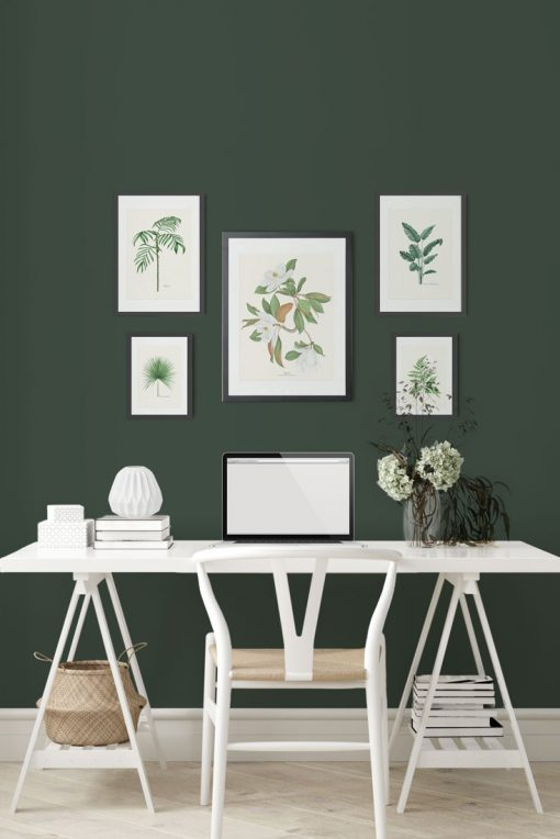 mural de cuadros verdes para decorar tu habitación favorita