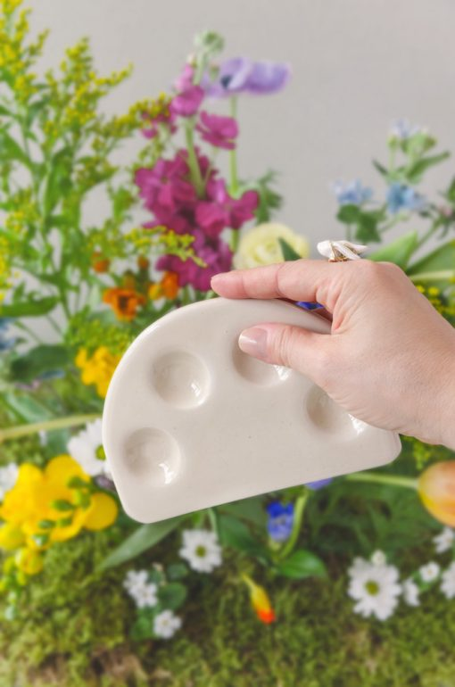 Vasos cerámica para acuarela reposa pinceles curva