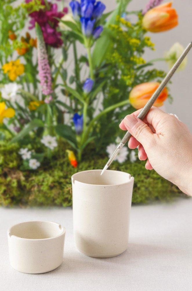Vasos cerámica para acuarela reposa pinceles