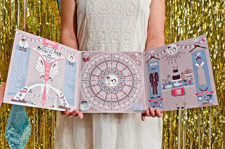 Invitaciones de boda vintage tríptico abierto