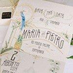 Invitaciones de boda vintage con acuarelas