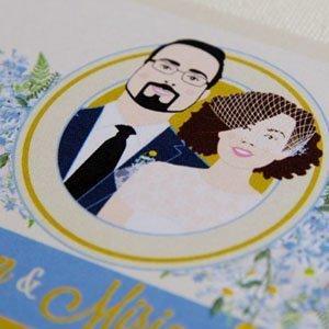 Invitaciones de boda con retrato de novios