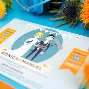 Invitaciones de boda personalizadas con dibujos de novios