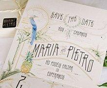 Invitaciones de boda con ilustraciones a mano