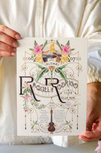 Invitacion de boda con ilustraciones personalizadas en acuarela