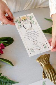 Minuta boda menu personalizado