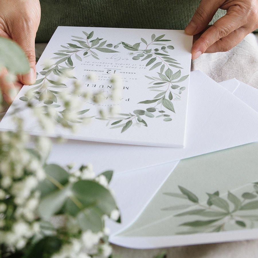 Invitación de boda con eucaliptos