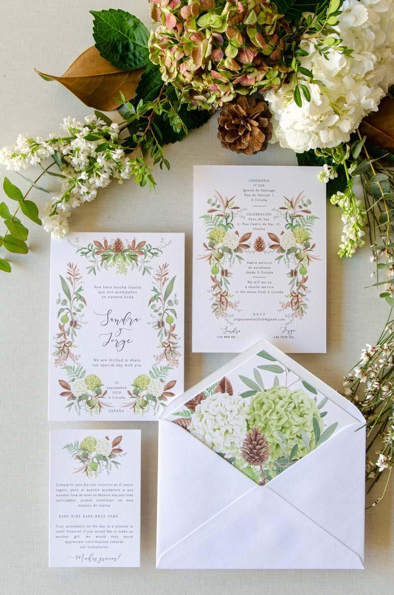 invitacion con lista boda y sobre