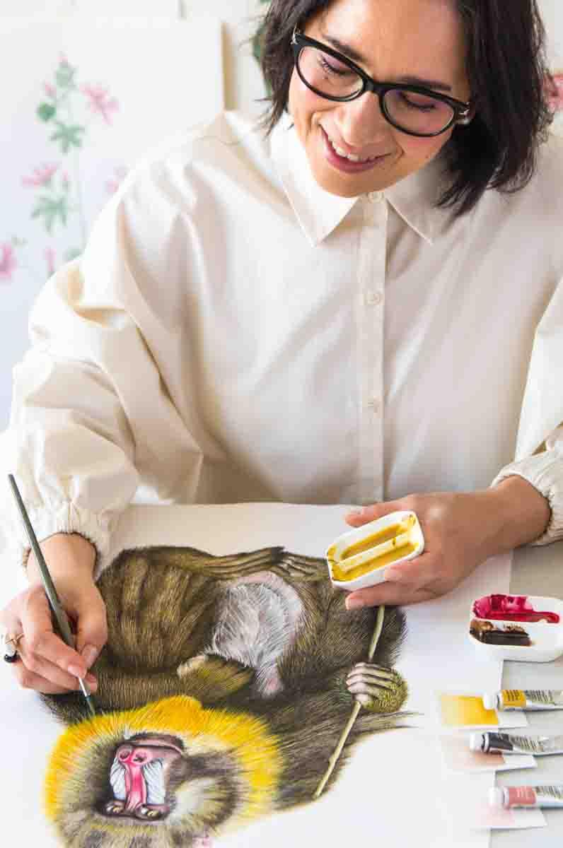 Dibujando babuino acuarela