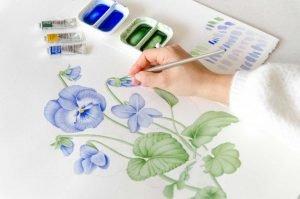 Ilustración personalizada de violetas