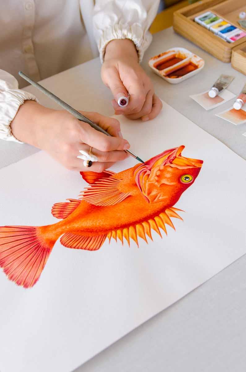 dibujando pez acuarela Kata Zapata